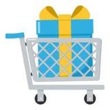 Shoppingvagn med gåvalägenhetsymbolen på vit Arkivbilder