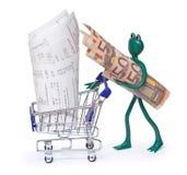 Shoppingvagn med kvitton och groda med 50 euroräkningar Arkivbild