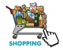 Shoppingvagn med livsmedel Fotografering för Bildbyråer