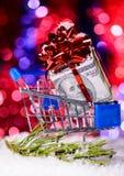 Shoppingvagn med pengar Royaltyfri Bild