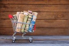 Shoppingvagn med pengar från olika länder: dollar euro, hryvnia, rubel Fotografering för Bildbyråer