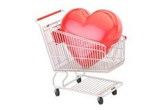 Shoppingvagn med röd hjärta, 3D vektor illustrationer