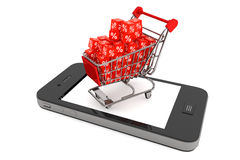Shoppingvagn med rabattkuber över mobiltelefonen Arkivbild