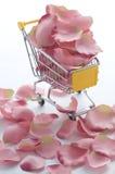 Shoppingvagn med rosa ro royaltyfria bilder