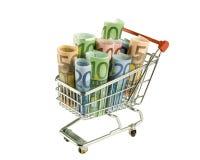 Shoppingvagn med sedlar Royaltyfri Bild
