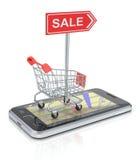 Shoppingvagn med smartphone vektor illustrationer