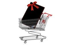 Shoppingvagn med TVuppsättningen Royaltyfri Bild