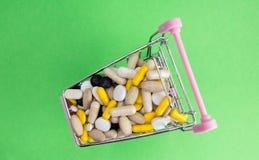Shoppingvagn mycket av drog- och medicinpiller farmaceutiskt kostat begrepp läkarbehandlingar i vagnen Köpandemediciner Top beskå royaltyfria bilder
