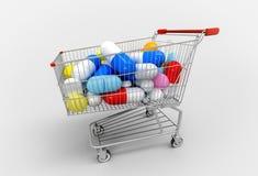 Shoppingvagn mycket av preventivpillerar och kapslar på vit bakgrund Royaltyfria Foton