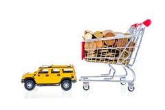 Shoppingvagn mycket med euro som dras av isolat för bilbegreppsbild Royaltyfria Foton