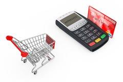 Shoppingvagn nära kreditkortbetalningterminalen framförande 3d Royaltyfri Foto
