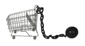 Shoppingvagn och boll och kedja Arkivfoton