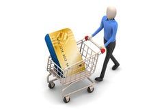 Shoppingvagn och kreditkort med mannen Royaltyfria Bilder