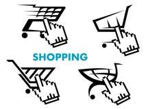 Shoppingvagn och symbolsuppsättning för återförsäljnings- affär Royaltyfri Foto