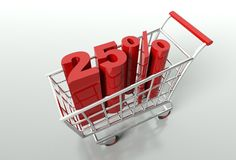 Shoppingvagn och tjugofem procent rabatt Royaltyfria Bilder