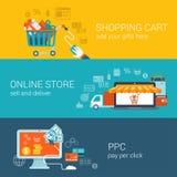 Shoppingvagn, online-lager, lön per begrepp för klicklägenhetstil Arkivfoton