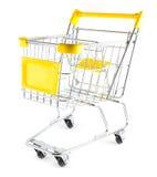 Shoppingvagn på vitbakgrund Arkivfoto