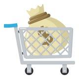 Shoppingvagn & säck av pengarlägenhetsymbolen Royaltyfria Bilder