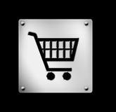 Shoppingvagn, symbol, rengöringsdukknapp Arkivfoton