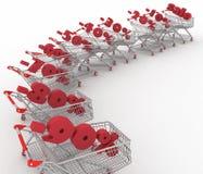 Shoppingvagnar mycket av procentsatsförsäljningen. Royaltyfria Foton