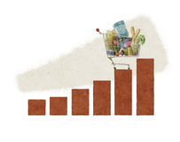 Shoppingvagnsbargraph Stock Illustrationer