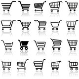 Shoppingvagnstecken vektor illustrationer