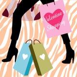 shoppingvalentinkvinna Royaltyfri Foto