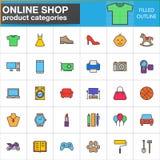 Shopproduktkategorienlinie Ikonen stellte, gefüllte Entwurfsvektor-Symbolsammlung, linearer Artpiktogrammsatz ein Zeichen, Logo i Lizenzfreie Stockfotos