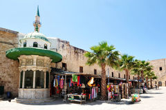 Shops in Acer Akko Israel. Shops outside the Jezzar Pasha Mosque in Acre Akko, Israel Royalty Free Stock Photos