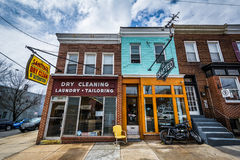 Shops along Chestnut Avenue in Hampden, Baltimore, Maryland. Royalty Free Stock Image