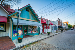 Shops along Maryland Avenue, in downtown Annapolis, Maryland. Royalty Free Stock Image