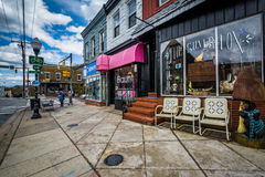 Shops along West 36th Street in Hampden, Baltimore, Maryland. Royalty Free Stock Photo