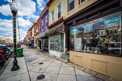 Shops along West 36th Street in Hampden, Baltimore, Maryland. Royalty Free Stock Image