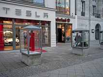 Shops of Apple, Timberland and Tesla in Kurfürstendamm, Berlin, Royalty Free Stock Photos