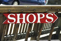 Shops Arrow Sign Royalty Free Stock Photography