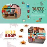 Shops Banners Set. Shops horizontal banners set with coffee street cart and butcher shop symbols flat isolated vector illustration Royalty Free Stock Image
