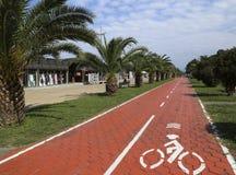 Shops and Bicycle path on the Batumi Boulevard. Georgia Stock Photo