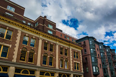 Shops and buildings in Back Bay, Boston, Massachusetts. Stock Images