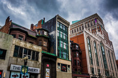 Shops and buildings in downtown Boston, Massachusetts. Stock Images