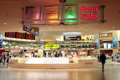Shops and cafe in terminal of Ben Gurion International Airport i stock photography