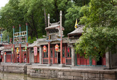 Shops on the Canal, Summer Palace, Beijing. A shopping plaza for the imperial household and guests Royalty Free Stock Photo