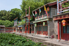 Shops on the Canal, Summer Palace, Beijing. Shopping plaza for the imperial household and guests Royalty Free Stock Image