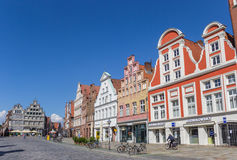 Shops at the central square Am Sande in Luneburg Royalty Free Stock Images