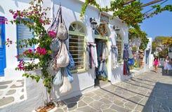 Shops with clothes and souvenirs at Apollonia Sifnos Greece stock photos