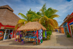 Shops in Cozumel Island - Mexico. With blue sky royalty free stock photos