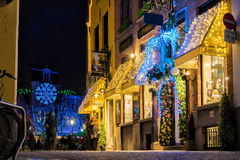 Shops decorated for Christmas Royalty Free Stock Photography
