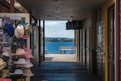 Shops at docks in Perth at Elizabeth Quay in Western Australia. At seaside royalty free stock image