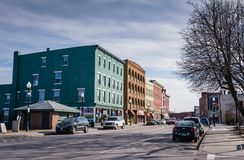 Shops In Downtown Plattsburgh NY Royalty Free Stock Photo