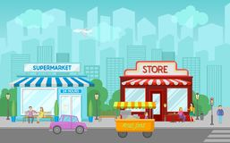 Shops facade, central street with public buildings, urban or village summer landscape vector illustration. In cartoon style Royalty Free Stock Photos