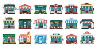Shops facades. Laundry building, hardware store facade and pharmacy shop flat vector set. Shops facades. Laundry building, hardware store facade and pharmacy stock illustration